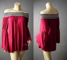 Gypsy Boho Woven Off The Shoulder Bell Sleeve Top Blouse 111 mv Tunic S M L XL