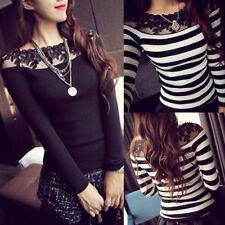 PERFECT OFF SHOULDER LACE STRIPE LONG SLEEVE SWEATER BODYCON TOP BLOUSE KNITWEAR
