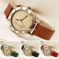 Fashion Brown Genuine Leather Band+Tower Face Women Watch Bracelet Clock W3LE