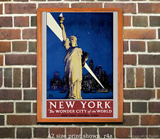 New York Wonder City - Reproduction Vintage NY Central RR Poster