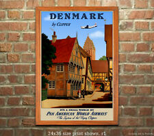 Pan Am Denmark - Vintage Airline Travel Poster [6 sizes, matte+glossy avail]