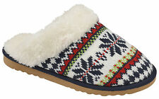 WOMENS DUNLOP BLUE AZTEC KNIT MULES SLIP ON SLIPPERS FLAT LOW HEEL SHOE SIZE