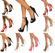 WOMENS STRAPPY PEEP TOE PLATFORM STILETTO HIGH HEEL SHOE SANDAL ANKLE CUFF SIZE