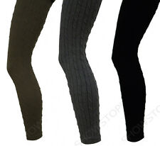 NEW Womens CABLE KNIT LEGGINGS Ladies PATTERENED WOOLY Black 8 10 12 14