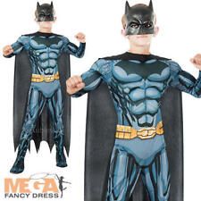 Deluxe Batman + Mask Boys Fancy Dress DC Comic Superhero Kids Childrens Costume