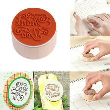 New Hot Handwriting Blessing Round Wooden Rubber Stamps Floral Choosing Words
