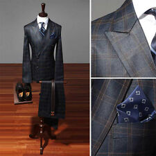 Premium series mens Dress wedding check Double Breasted 2piece Navy suits 656D