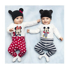 Cute Baby Boy Girls Kids Romper Bodysuit Jumpsuit Cap Top+Pants+Hat Clothing Set