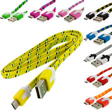 Braided Rope Micro USB Flat Noodle Data Cable 3FT For Samsung Galaxy S5 S4 S3 S2