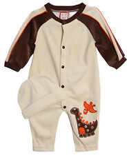 Baby Togs Baby Boys' 2 Piece Dinosaur Velour Sleeper with Matching Hat