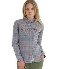New Womens Superdry Country Flannel Shirt Tawney Tweed Blue SW