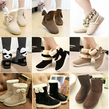 Womens Bowknot Warm Fur Lined Midcalf Flat Snow Ankle Boots Autumn Winter Shoes
