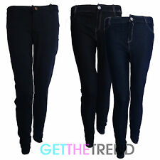Womens Black Button Mid Waist Skinny Fitted Jean Jeggings Stretch Leggings S-XL