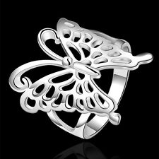 Wholesale Price Pretty 925Sterling Silver Big Butterfly Ring Size 7 8 ZR540