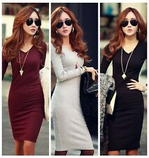 Autumn Fall Winter Women Cotton Casual Bodycon Evening Cocktail Party Mini Dress