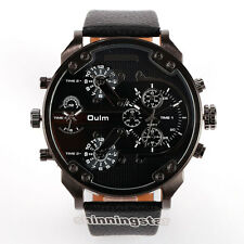 OULM New Big Dial 2 Time Zone Men Military Quartz Sport Leather Band Wrist Watch