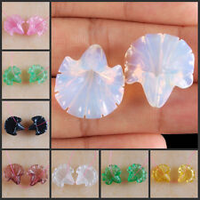 S0008-0075 Wholesale Pair Glass/Stone Carved Flower Pendant Beads