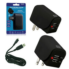 Dual Port (1A+2.1A) Fast Wall Charger Adapter US Plug + USB Cable for Cell Phone
