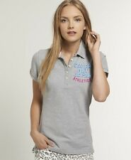 New Womens Superdry Applique Twistyarn Pique Polo T-Shirt Partridge Grey