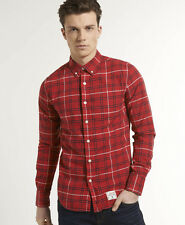 New Mens Superdry Dry Oxford Check Shirt Edinburgh Check Red W1