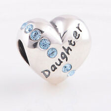 Sterling Silver 925 European Charm Love My Daughter Heart w/ Blue CZs Bead 88510