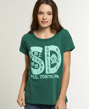 New Womens Superdry Locket T-shirt Plymouth Green