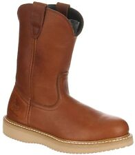 Georgia Men's Steel Toe Wedge Wellington Western Work Boots Barracuda Gold G5353