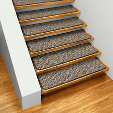 Set of 15 SKID-RESISTANT Carpet Stair Treads BLACK RIPPLE runner rugs