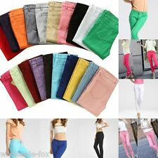 Womens Low Waist Casual Slim Skinny Pencil Stretch Jeans Candy Color Basic Pants