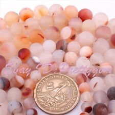 """Natural Round Frost Light Red Agate Onyx Gemstone Spacer Loose Beads Strand 15"""""""