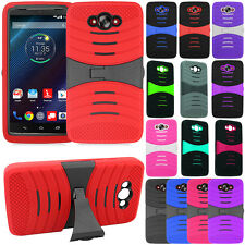 For Motorola Droid Turbo XT1254 Armor Hybrid Kickstand Rubber Hard Case Cover