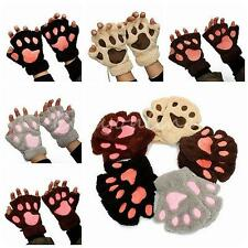 Lovely Lady Women Cat Claw Paw Mittens Plush Soft Winter Fingerless Warm Gloves