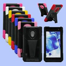 Hybrid Phone Case For LG Lucid 2 VS870 Hard Soft Cover Sleek Kickstand Stand