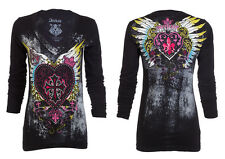 Archaic AFFLICTION Womens LS T-Shirt DARLING Tattoo Biker UFC Sinful M-XL $58