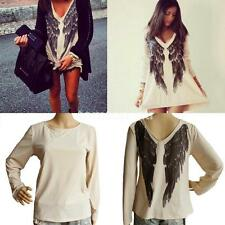 Women Loose Oversized Angel Wings Printed Blouse Tops T-shirt Long Sleeve Dress
