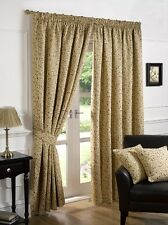 TAPESTRY JACQUARD VINTAGE LEAF HEAVY WEIGHT FULLY LINED PAIR OF CURTAINS 9 SIZES