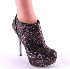 New Womens Multicolor Glitter Platform Chrome Stiletto Ankle Boots