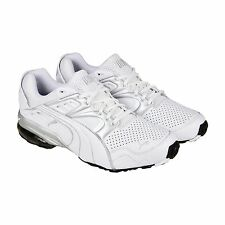 Puma Mens Cell Blaze White Gray Leather Mesh Athletic Lace Running Shoes