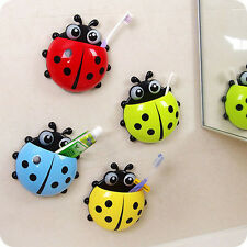 Cute Cup Pocket Bathroom Toothbrush Stuff Ladybug Wall Suction Holder