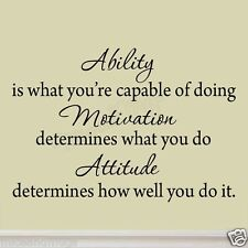 Ability is What You're Capable of Doing Inspirational Wall Decal Quote Sports