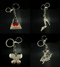 SILVER  HANDBAG/DANCING GIRL/SHOE/BUTTERFLY PHONE,HANDBAG KEYRING CRYSTAL CHARM