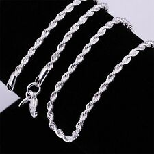 Wholesale Fashion 925 Sterling Silver Chain Link Twisted Rope Necklace 16-24inch