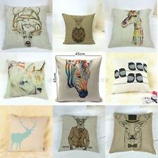 European Vintage Printed Pillow Case Animal Cushion Cotton linen Cover Square