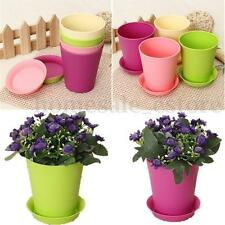 Small Colorful Plastic Flower Planter Pots with Tray Home Office Garden Decor