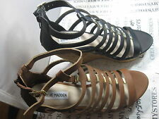 NIB new  STEVE MADDEN EMBER STRAPPY HIGH HEEL PLATFORM SANDAL COGNAC OR BLACK