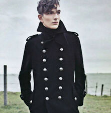 New Men Overcoat Jacket Wool Outerwear Military Double Breasted Trench Long Coat