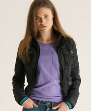 New Womens Superdry Quilted Bomber Jacket Black VH