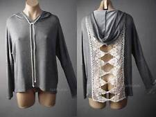 Crochet Doily Cutout Back Boho Gray Hoodie Pullover Top 119 mv Sweatshirt S M