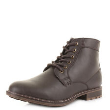 MENS BROWN LEATHER STYLE LACE UP ZIP FASHION CASUAL MILITARY BOOTS SHOES  SIZE