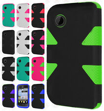 For TracFone LG 306G IMPACT TUFF HYBRID Protector Case Skin Phone Cover